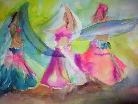 This 16x20 watercolor depicts a veil dance.