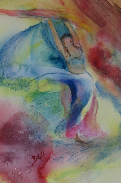 This 12x16 watercolor is inspired by Super Belly Dance troop.