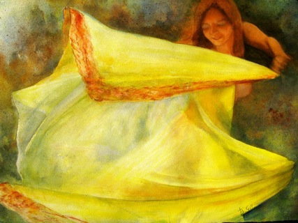 The figure in this 24x36 watercolor was painted in pastels.