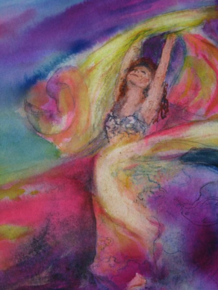 This 12x16 watercolor was inspired by the Super Belly Dance troop.