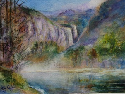 This 16x20 watercolor was done on a cold, foggy morning along Merced River.