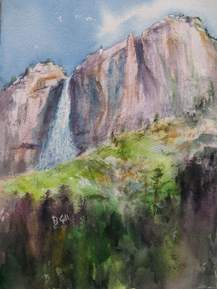 This 16x20 watercolor is of Upper Yosemite Falls.