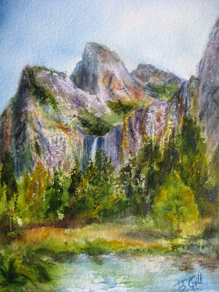This 16x20 watercolor is done from Yosemite View viewpoint.