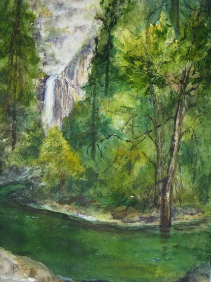 This 16x20 depicts Lower Yosemite Falls.