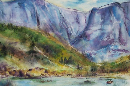 This is a 16x20 inch watercolor from the Rocky Mountains.