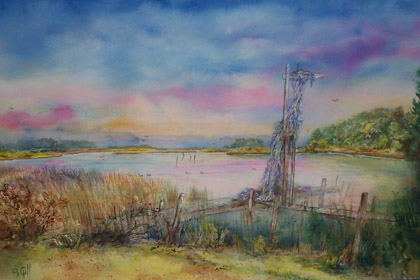 24x36 watercolor painted in Swansboro, North Carolina.
