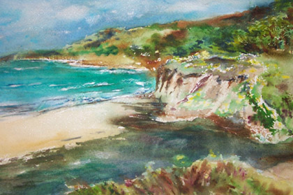 14x18 watercolor was painted in Half Moon Bay, California.