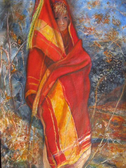 20x35 acrylic painting of a woman enveloped in a scarf.