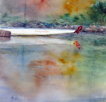 This 12x12 watercolor of a racing skiff was painted in Berkeley.