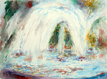 A fountain in Oakland, California. 16x24 watercolor.