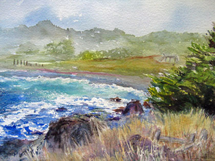 This 16x20 watercolor is of Mackericher State Beach, California