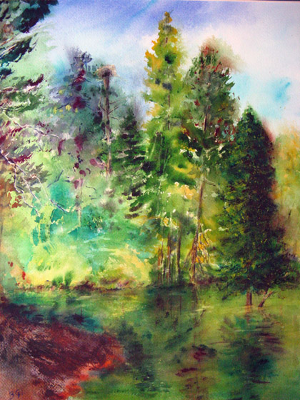 This 24x30 watercolor was painted near Pinecrest.