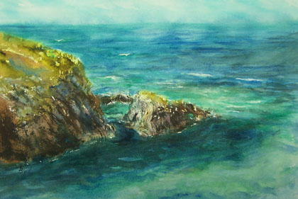 This 16x20 watercolor was painted in Mendocino.