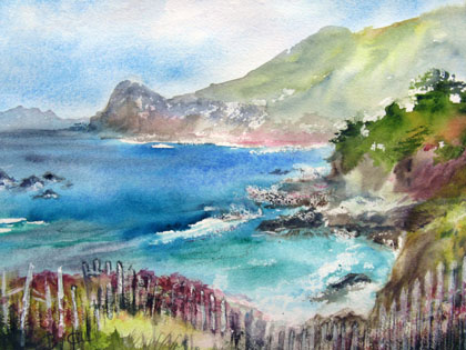 This 16x20 watercolor was painted in Montara near Devil's Slide.