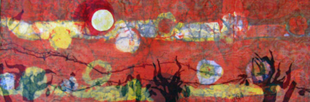 This 20x30 batik collage is inspired by Stanislaus County vineyards.