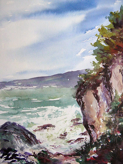 This is a 16x20 inch watercolor at Trinidad State Park in California.