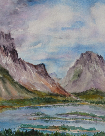 This 12x16 watercolor is from an overlook of the Snake River.