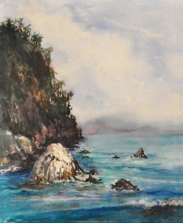 "Watercolor, 16 x 20. Bluefish Cove was painted at Point Lobos State Park near Carmel, California.  This is showing at Carmel Art Institute in MBPAPA signature art show, ""Point Lobos, Jewel of the Central Coast."""
