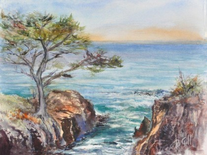Watercolor, 16 x 20. Hidden Beach Trail was painted in Point Lobos State Park near Carmel, California.