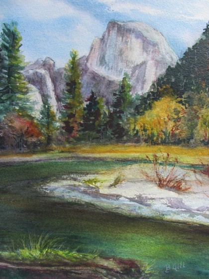 Watercolor, 16 x 20. This painting was painted behind Yosemite Lodge along the Merced River.