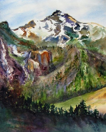 Watercolor, 22 x 26. This painting was done beyond Kennedy Meadows, California on the summit of HWY 108.