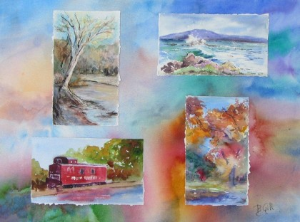 This is a four seasons collage of  travel sketches mounted on painted Arches watercolor board,  18 x 24 inches.