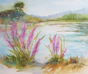 This 16 x 20 watercolor was painted at Carmel River State Park.
