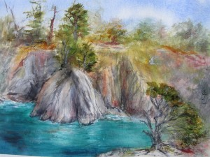 This 16 x 20 inch watercolor painting was done at Point Lobos State Park, Carmel, CA.